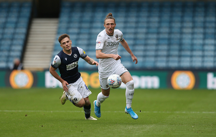 Leeds United's Luke Ayling and Millwall's Ben Thompson<br /> <br /> Photographer Rob Newell/CameraSport<br /> <br /> The EFL Sky Bet Championship - Millwall v Leeds United - Saturday 5th October 2019 - The Den - London<br /> <br /> World Copyright © 2019 CameraSport. All rights reserved. 43 Linden Ave. Countesthorpe. Leicester. England. LE8 5PG - Tel: +44 (0) 116 277 4147 - admin@camerasport.com - www.camerasport.com