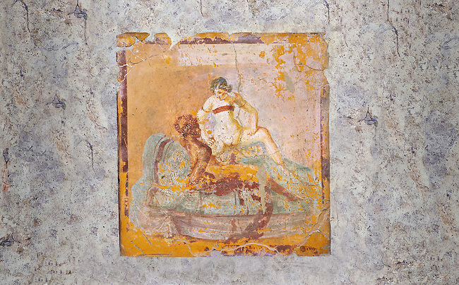 Roman Erotic Fresco from Pompeii depicting  a man & woman having sex Naples National Archaeological Museum - 1st century AD