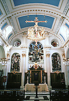 "Sir Christopher Wren: St. Mary-Le-Bow 1670-83. ""Harshly colored modern glass has reduced the interior to prettiness"".  Photo '90."