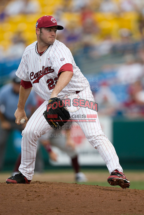 South Carolina's Matt Price in Game 7 of the NCAA Division One Men's College World Series on Monday June 22nd, 2010 at Johnny Rosenblatt Stadium in Omaha, Nebraska.  (Photo by Andrew Woolley / Four Seam Images)