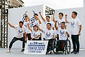Paralympians pose for the cameras during the 3 Years to Go! ceremony for the Tokyo 2020 Paralympic games at Urban Dock LaLaport Toyosu on August 25, 2017. The Games are set to start on August 25th 2020. (Photo by Rodrigo Reyes Marin/AFLO)