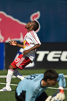 New York Red Bulls midfielder Dane Richards (19) reacts to Houston Dynamo goalkeeper Pat Onstad (18) making a save on his shot. The New York Red Bulls defeated the Houston Dynamo 3-0 during a Major League Soccer match at Giants Stadium in East Rutherford, NJ, on August 24, 2008.