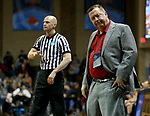 SIOUX FALLS, SD - MARCH 19: Head coach Dave Slifer from Central Missouri reacts to an officials call against his team during their quarterfinal game against Lubbock Christian at the 2018 Elite Eight Women's NCAA DII Basketball Championship at the Sanford Pentagon in Sioux Falls, SD. (Photo by Dave Eggen/Inertia)