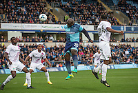 Adebayo Akinfenwa of Wycombe Wanderers scores a goal which is ruled out after the referee blows his whistle early during the Sky Bet League 2 match between Wycombe Wanderers and Barnet at Adams Park, High Wycombe, England on 22 October 2016. Photo by Andy Rowland.
