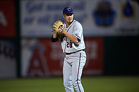 Lancaster JetHawks relief pitcher Matt Dennis (29) prepares to deliver a pitch during a California League game against the Inland Empire 66ers at San Manuel Stadium on May 18, 2018 in San Bernardino, California. Lancaster defeated Inland Empire 5-3. (Zachary Lucy/Four Seam Images)