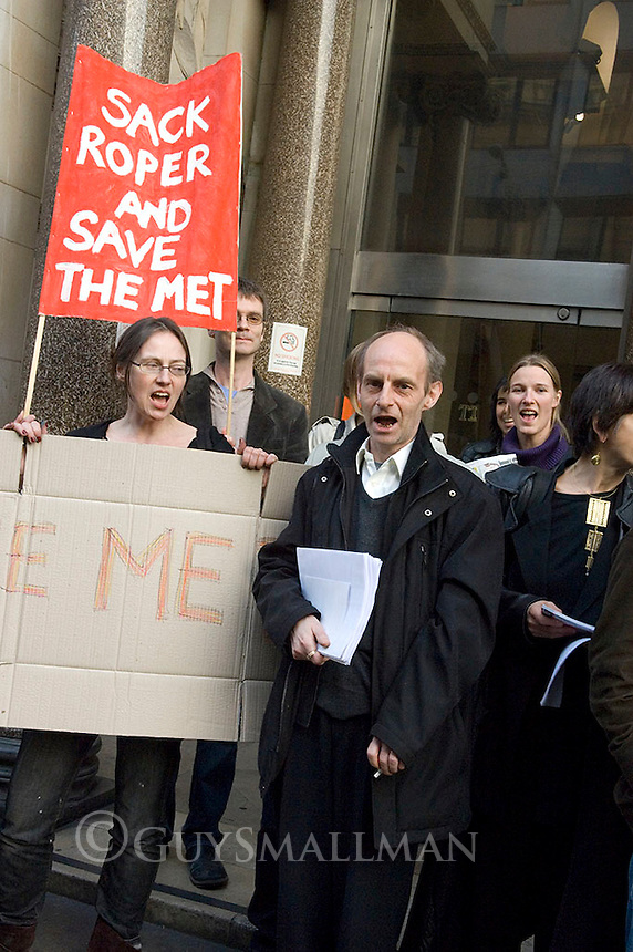 Protest at London Metropolitan University over cuts. Staff and students were calling for the sacking of Brian Roper. The protest was called by the UCU Trade Union.