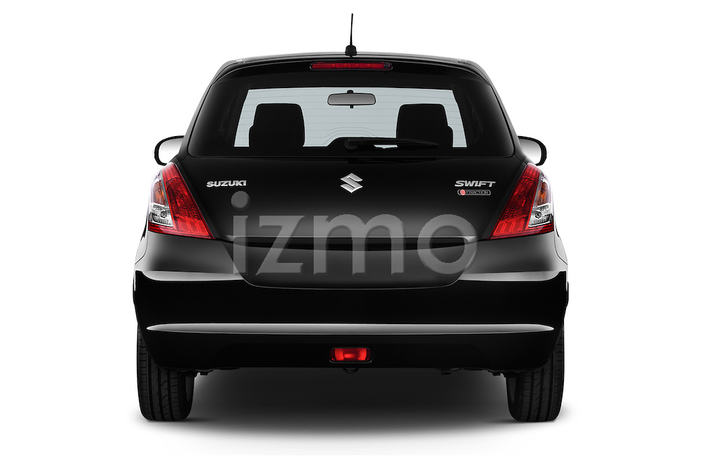 Straight rear view of2013 Suzuki SWIFT Grand Luxe @ttraction 5 Door Hatchback 2WD Rear View  stock images
