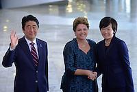 BRASÍLIA, DF, 01.08.2014 - POLÍTICA/BRASÍLIA - Presidente Dilma Rousseff recebe o Primeiro Ministro do Japão, Shinzo Abe, no Palácio do Planalto, em Brasília, nesta sexta-feira, 1º. (Foto: Pedro França/Brazil Photo Press)