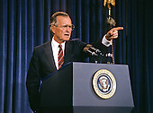 United States President George H.W. Bush defends his plan to combat illegal drugs at a press conference at the White House in Washington, D.C. on September 6, 1989..Credit: Ron Sachs / CNP