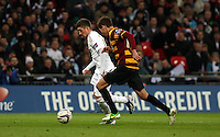 Pictured: Pablo Hernandez (L), Will Atkinson (R). Sunday 24 February 2013<br /> Re: Capital One Cup football final, Swansea v Bradford at the Wembley Stadium in London.