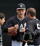 (L-R) Masahiro Tanaka, Austin Romine (Yankees),<br /> FEBRUARY 22, 2015 - MLB :<br /> Masahiro Tanaka of the New York Yankees talks with catcher Austin Romine in the bullpen during the New York Yankees spring training camp in Tampa, Florida, United States. (Photo by AFLO)