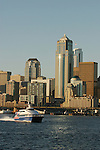 Seattle, Victoria Clipper, Seattle skyline, Washington State, Puget Sound, Elliott Bay, Pacific Northwest, High-speed passenger ferry service from Seattle to Victoria, British Columbia