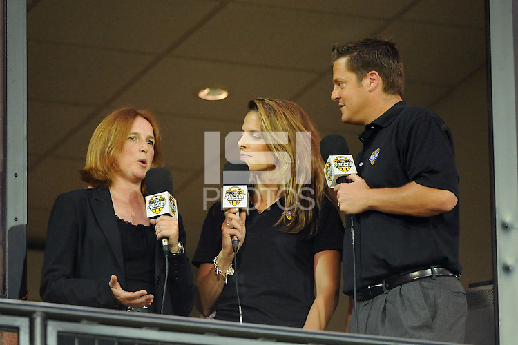 WPS Commissioner Tonya Antonucci is interviewed by Fox Soccer Channel commentators Jenn Hildreth and Mark Rogondino during the Women's Professional Soccer (WPS) All-Star Game at KSU Stadium in Kennesaw, GA, on June 30, 2010.