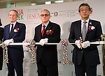 September 27, 2016, Tokyo, Japan - (L-R) Italian ambassador to Japan Domenico Giorgi, Italian embassy trading representative Aristide Matellini and Mitsukoshi Isetan Holdings president Hiroshi Onishi cut a ribbon for the opening of the Italian Week fair at the Isetan department store in Tokyo on Tuesday, September 27, 2016.    (Photo by Yoshio Tsunoda/AFLO) LWX -ytd-