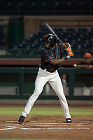 AZL Giants Black left fielder Kwan Adkins (8) at bat during an Arizona League game against the AZL Royals at Scottsdale Stadium on August 7, 2018 in Scottsdale, Arizona. The AZL Giants Black defeated the AZL Royals by a score of 2-1. (Zachary Lucy/Four Seam Images)