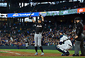 Ichiro Suzuki (Marlins),<br /> APRIL 19, 2017 - MLB :<br /> Ichiro Suzuki of the Miami Marlins at bat during the Major League Baseball game against the Seattle Mariners at Safeco Field in Seattle, Washington, United States. (Photo by AFLO)