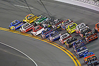18-19 February, 2016, Daytona Beach, Florida USA<br /> Ryan Truex races Grant Enfinger for the lead in turn 1.<br /> ©2016, F. Peirce Williams