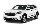 2017 KIA Niro Sense 5 Door SUV Angular Front stock photos of front three quarter view