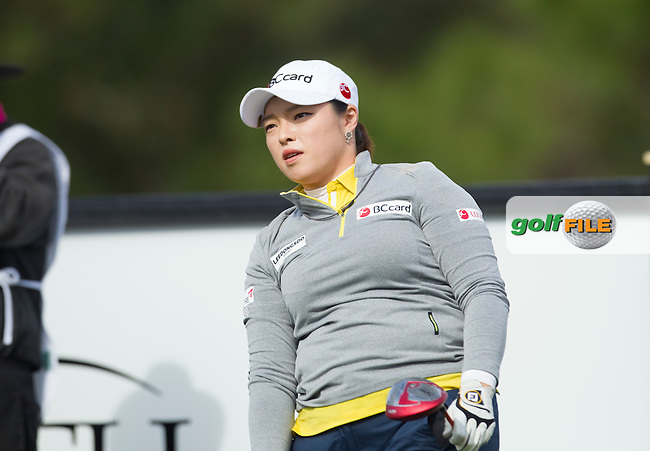 Hana Jang watches her tee shot on 17 during the Second Day of the Third round of the LPGA Coates Golf Championship 2016 , from the Golden Ocala Golf and Equestrian Club, Ocala, Florida. 6/2/16<br /> Picture: Mark Davison | Golffile<br /> <br /> <br /> All photos usage must carry mandatory copyright credit (&copy; Golffile | Mark Davison)