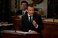 French President Emmanuel Macron delivers a joint address to the United States congress at the United States Capitol in Washington, DC on April 25, 2018. Credit: Alex Edelman / CNP