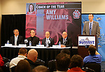 SIOUX FALLS, SD - MARCH 5: Members of the media listen as David Brauer, right, Assistant Commissioner/Communications for the Summit League announce University of South Dakota's Amy Williams as Coach of the Year at a press conference Thursday afternoon at the Denny Sanford Premier Center in Sioux Falls. (Photo by Dave Eggen/Inertia)