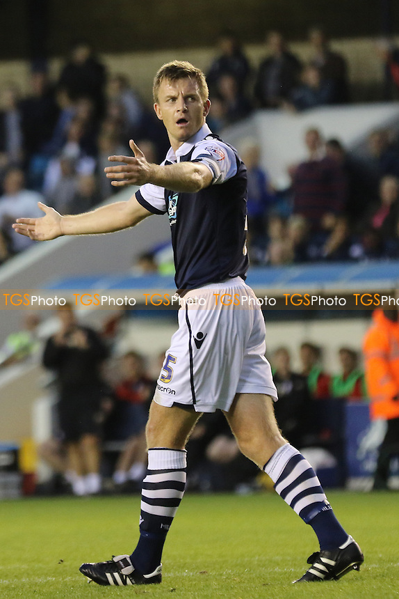 Millwall captain, Tony Craig, looks frustrated during Millwall vs Barnsley, Sky Bet League 1 Football at The Den, London, England on 18/08/2015