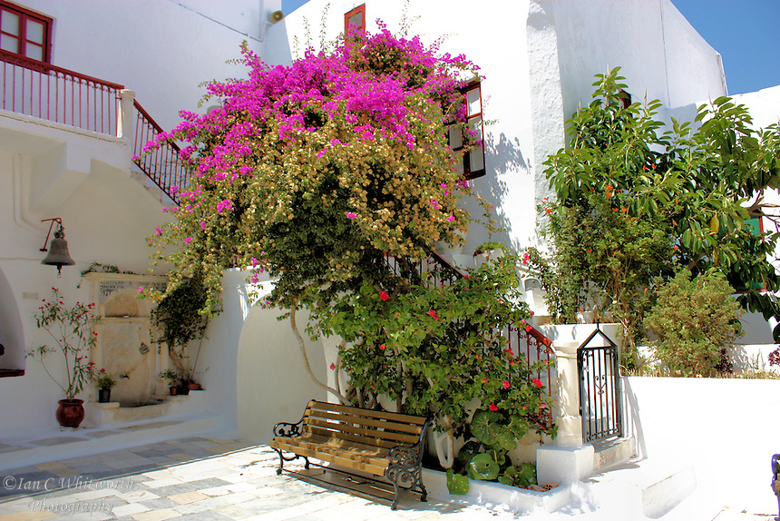 A typical beautiful view while walking the town streets in Mykonos in Greece