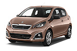 2014 Peugeot 108 Allure 5 Door Micro Car 2WD Angular Front stock photos of front three quarter view