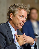 United States Senator Rand Paul (Republican of Kentucky), a candidate for the Republican nomination to be President of the United States and a member of the US Senate Committee on Foreign Relations, questions US Secretary of State John F. Kerry during the hearing to examine and review the Iran nuclear agreement on Capitol Hill in Washington, DC on Thursday, July 23, 2015.<br /> Credit: Ron Sachs / CNP