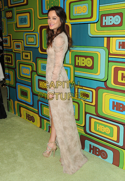 LEIGHTON MEESTER.The HBO's Post Golden Globes Party held at The Beverly Hilton Hotel in Beverly Hills, California, USA..January 16th, 2011.full length beige sheer dress cream long sleeves side.CAP/RKE/DVS.©DVS/RockinExposures/Capital Pictures.