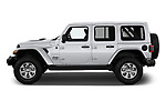 Car driver side profile view of a 2018 Jeep Wrangler Unlimited Sahara 5 Door SUV