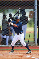 GCL Tigers East first baseman Moises Bello (18) at bat during a game against the GCL Tigers West on August 4, 2016 at Tigertown in Lakeland, Florida.  GCL Tigers West defeated GCL Tigers East 7-3.  (Mike Janes/Four Seam Images)