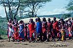Maasai Moran and their mothers  gather  for the Moran  initiation into manhood<br />Kajiado, Kenya.