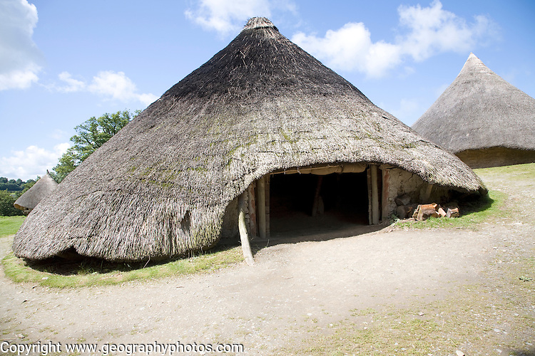 Castell Henllys iron age celtic village houses Pembrokeshire Wales