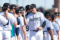 Peoria Javelinas third baseman Hudson Potts (13), of the San Diego Padres organization, during player introductions before the Arizona Fall League Championship game against the Salt River Rafters at Scottsdale Stadium on November 17, 2018 in Scottsdale, Arizona. Peoria defeated Salt River 3-2 in 10 innings. (Zachary Lucy/Four Seam Images)