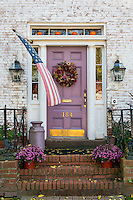 Autumn decorations and colonial house and door, Wethersfield, Connecticut, USA