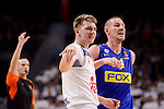 Real Madrid's Luka Doncic and Maccabi Fox's Colton Iverson during Turkish Airlines Euroleague match between Real Madrid and Maccabi at Wizink Center in Madrid, Spain. January 13, 2017. (ALTERPHOTOS/BorjaB.Hojas)
