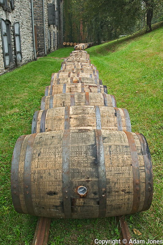 "Barrels of Kentucky bourbon whiskey leaving plant, Woodford Reserve, ""Labrot & Graham distillery, Versailles, KY"