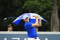 Matthew Fitzpatrick (Europe) on the 9th tee during the Friday Foursomes of the Eurasia Cup at Glenmarie Golf and Country Club on the 12th January 2018.<br /> Picture:  Thos Caffrey / www.golffile.ie