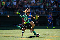 Seattle, WA - Saturday, August 26th, 2017: Katlyn Johnson and Adrianna Franch during a regular season National Women's Soccer League (NWSL) match between the Seattle Reign FC and the Portland Thorns FC at Memorial Stadium.