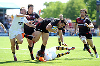 Sean Maitland of Saracens takes on the Wasps defence. Aviva Premiership Semi Final, between Saracens and Wasps on May 19, 2018 at Allianz Park in London, England. Photo by: Patrick Khachfe / JMP