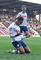Preston North End's Andre Green celebrates scoring his sides opening goal<br /> <br /> Photographer Dave Howarth/CameraSport<br /> <br /> The Carabao Cup First Round - Bradford City v Preston North End - Tuesday 13th August 2019 - Valley Parade - Bradford<br />  <br /> World Copyright © 2019 CameraSport. All rights reserved. 43 Linden Ave. Countesthorpe. Leicester. England. LE8 5PG - Tel: +44 (0) 116 277 4147 - admin@camerasport.com - www.camerasport.com