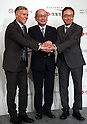 "July 21, 2016, Tokyo, Japan - Japan's insurer Sumitomo Life Insurance president Masahiro Hashimoto (C) shakes hands with South African insurer Discovery Ltd. Chief executive Adrian Gore (L) and Japanese communication giant Softbank president Ken Miyauchi (R) as they announced Sumitomo will develop the new insurance product ""Japan Vitality Project"" with other two companies at a press conference in Tokyo on Thursday, July 21, 2016. The new life insurance has lower premiums to more healthy conscious people using health care devices or smartphones with health care applications.     (Photo by Yoshio Tsunoda/AFLO) LWX -ytd-"