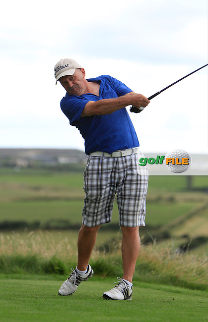 Pat Lyons (Cork) on the 9th tee during the South of Ireland Amateur Open Championship First Round at Lahinch Golf Club  27th July 2013 <br /> Picture:  Thos Caffrey / www.golffile.ie