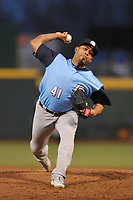 Colorado Springs Sky Sox starting pitcher Junior Guerra(41) throws a pitch against the Omaha Storm Chasers at Werner Park on April 5, 2018 in Omaha, Nebraska. The Sky Sox won 3-1.  (Dennis Hubbard/Four Seam Images)