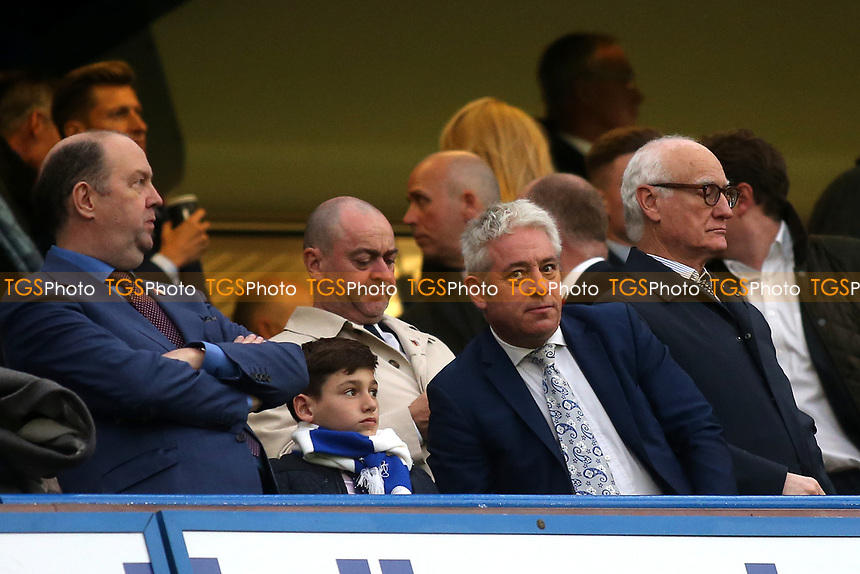 John Bercow MP, the Speaker of The House of Commons  since 2009, takes his seat ahead of kick-off during Chelsea vs Crystal Palace, Premier League Football at Stamford Bridge on 4th November 2018