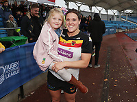 Picture by Paul Currie/SWpix.com - 07/10/2017 - Rugby League - Women's Super League Grand Final - Bradford Bulls v Featherstone Rovers - Regional Arena, Manchester, England - Amy Hardcastle of Bradford Bulls celebrate at the end of the match