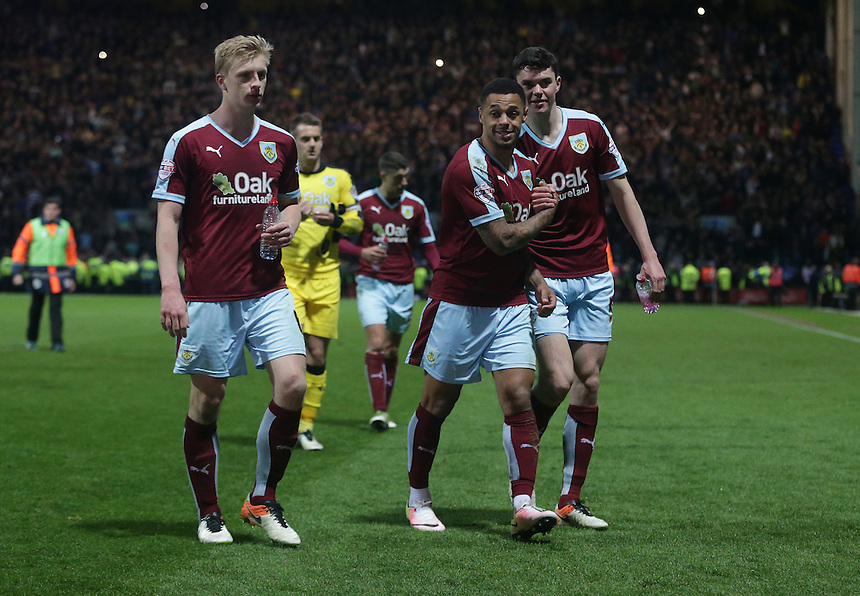 Burnley players walk off the pitch happy at the 1-0 win that puts them on top of the league<br /> <br /> Photographer Stephen White/CameraSport<br /> <br /> Football - The Football League Sky Bet Championship - Preston North End v Burnley - Friday 22nd April 2016 - Deepdale - Preston <br /> <br /> &copy; CameraSport - 43 Linden Ave. Countesthorpe. Leicester. England. LE8 5PG - Tel: +44 (0) 116 277 4147 - admin@camerasport.com - www.camerasport.com