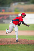 Orem Owlz relief pitcher Adalberto Pena (29) follows through on his delivery during a Pioneer League game against the Missoula Osprey at Ogren Park Allegiance Field on August 19, 2018 in Missoula, Montana. The Missoula Osprey defeated the Orem Owlz by a score of 8-0. (Zachary Lucy/Four Seam Images)