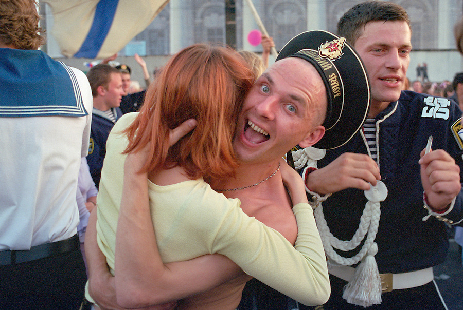 Saint Petersburg, Russia, 28/07/2002..Peter the Great founded the Russian Navy, and St Petersburg remains the home of the fleet. Navy Day brings the ships tp port and the sailors to shore.......
